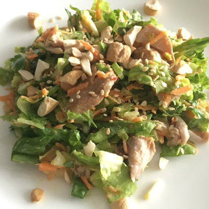 Asian Salad with Ginger Sesame Miso Dressing - Monique Jhingon